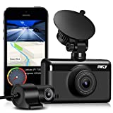 Dash Cam Front and Rear 1440P & 1080P, Built-in WiFi GPS 3 Inch IPS Touch Screen Car Dashboard Camera with Night Vision, Single Front Camera 2K, 150°Wide Angle, Parking Monitor, App for iOS Android