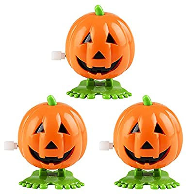 """The Dreidel Company Halloween Pumpkin Wind-Up Toys, Birthday Party Favors, Novelty Toys for Boys and Girls, 2"""" Inches (3-Pack) from The Dreidel Company"""