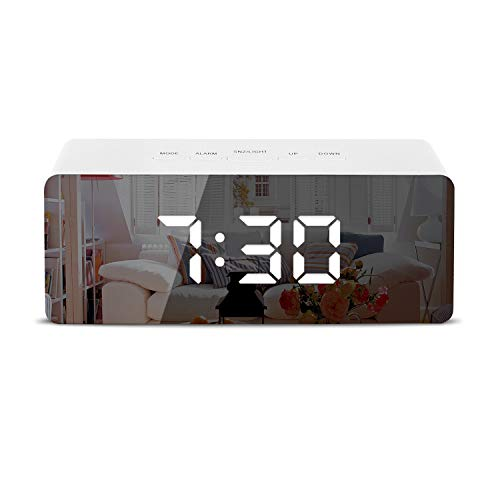 Digital Alarm Clock, LED Display Clock Best Makeup Bedroom Mirror Travel Alarm Office Bedroom Clock, Alarm Clock with Snooze, Dimmer Control, Support Battery Powered and with USB Port-White
