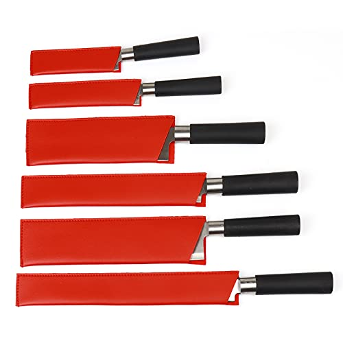 JURONG 6 Pairs Leather Knife Sheath, Kitchen Knife Covers, Chef's Knife Protector, Waterproof Knife Protector, Kitchen Knife Accessories, Knife Storage, Tool Bag