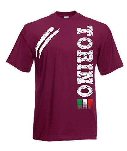 Generico t-Shirt Torino Tifosi Ultras Calcio Sport dalla S alla 3XL e 4 Colori Disponibili …(XXXL, Amaranto)
