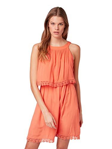 TOM TAILOR Denim Damen Sommerkleid Mini Dress Crochet lace lachs M (38)