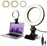Anillo de Luz, 6.3' Aro de Luz Abrazadera de Escritorio,Luz Videoconferencia con 3 Colores Regulables, 10 Niveles de Brillo y 360°Rotable, para Ordenador Portátil, Reunión de Zoom, Selfie, Maquillaje