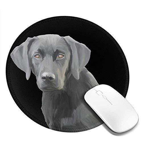 Art Labrador Lab Glamour Black Pop Alfombrilla redonda personalizada para ratón, pequeña alfombrilla circular con diseño para juegos, alfombrilla de ratón, accesorios, bordes cosidos, linda oficina pa