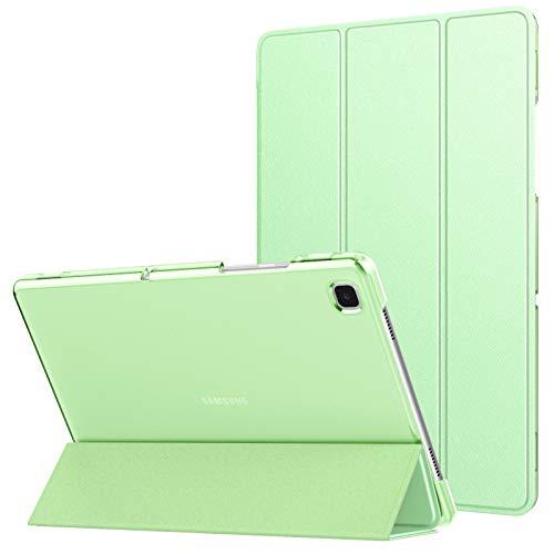 MoKo Funda Compatible con Samsung Galaxy Tab A7 10.4' 2020 SM-T500/T505/T507, Delgada Cubierta Estuche Inteligente con Soporte Plegable Función Auto Reposo/Estela Trasera Transparente, Verde