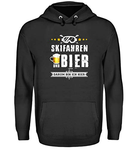 Skifahrer T-Shirt Hoodie Ski & Bier für Winterurlaub - Unisex Kapuzenpullover Hoodie -S-Jet Schwarz