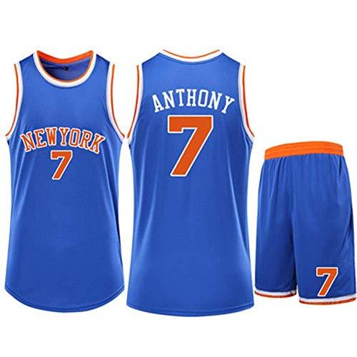 CCKWX Herren Denver Nuggets Trikot - Carmelo Anthony # 7 New York Knicks Basketball Sport Swingman Trikot Ärmellose Sportweste + Shorts,Blau,M:155cm/40~45kg
