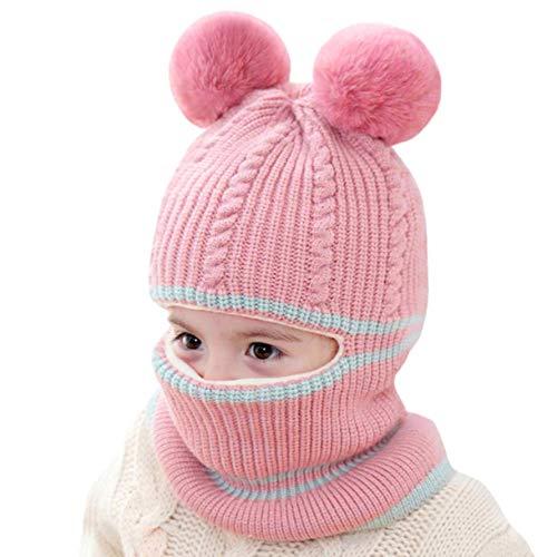vamei Wintermütze Kinder Beanie Mütze Mädchen mit Bommel Mütze Baby Strickmütze Ohren Schalmütze Jungen Winter Warm Beanie Baby Mütze (pink)