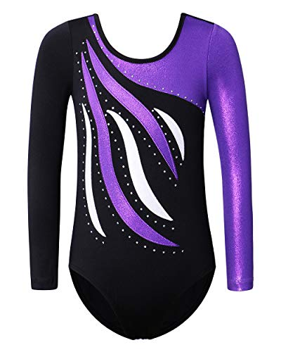 Leotards for Girls Gymnastics Toddler Shiny Diamond Metallic Athletic Bodysuit B183_BlackPurple_8A
