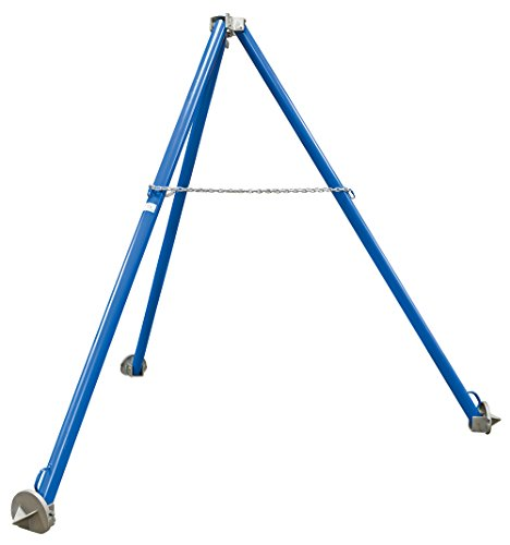 Vestil TRI-SF Steel Tripod Stand with Fixed Legs, overall LxWxH (in.) 100-7/8 x 100-7/8 x 117-3/4, Eyelet Height (in.) 109-5/8, 2000 lb Uniform Capacity, Blue