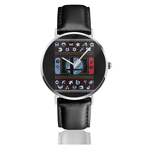 Unisex Business Casual Super Smash Bros Ultimate Christmas Switch Strickmuster Uhren Quarz Leder Armbanduhr mit schwarzem Lederband für Männer Frauen Junge Kollektion Geschenk