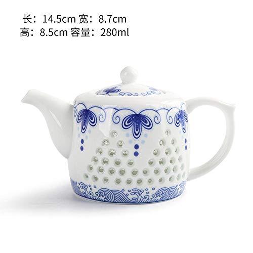YDLX Juegos de té Tetera de cerámica, Juego de té, Porcelana Azul y Blanca Kung Fu, Varios Estilos, Tetera Individual de Porcelana Blanca