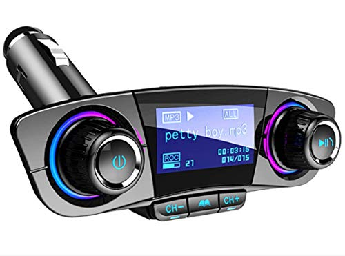 QAE Bluetooth FM Transmitter Car MP3 Player Hands-Free Car Kit Wireless Radio Audio Adapter with Dual USB 5V 2.1A USB Port, U Disk, TF Card, Folder Playback, AUX Input Output, Voice Navigation