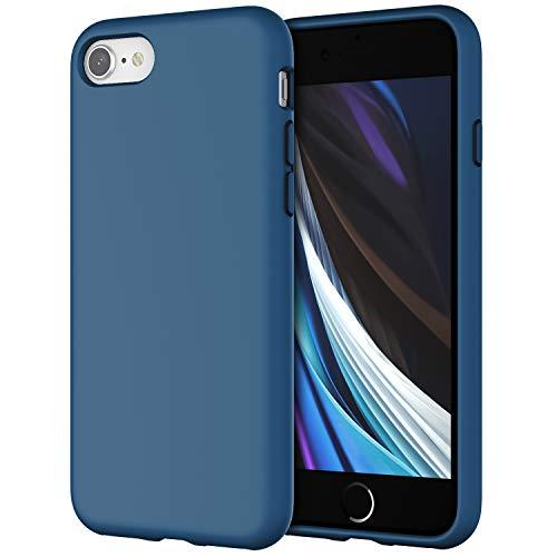 JETech Silicone Hülle Kompatibel iPhone SE 2020, iPhone 8 & iPhone 7, seidigem Ganzkörper-Schutzhülle, mit weichem Mikrofaser-Innenfutter stoßfestes Abdeckung, Blauer Kobalt