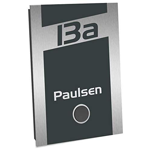 Radiografische bel tweegezinss roestvrij staal opbouw super vlak 110x160mm antraciet RAL 7016 Design bel radio bereik 400m 52 melodieën