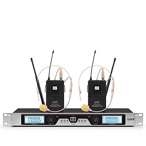 BFYH Sistema De Micrófono Inalámbrico UHF Receptor De Metal Sistema De Micrófono Inalámbrico De 2 Canales con Micrófono De 2 Auriculares para Uso En La Iglesia En El Escenario para Fiestas Familiares