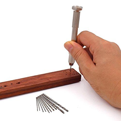 11 teilig - mini Handbohrer + 10 Spiralbohrer Set |2 Stück Aufnahmeschacht | Dicke der Spitzen von 0,5 – 2 mm | Holz Modellbau PCB HSS Twist Schmuck Hand Bohrer Loch