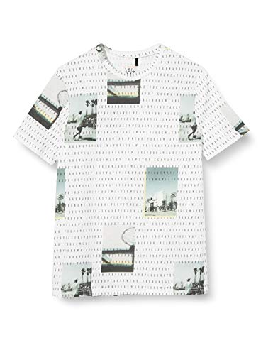 IKKS Junior tee-Shirt Imprimé Paysage et Inscription Camiseta, Blanco (Blanc optique 01), L para Niños