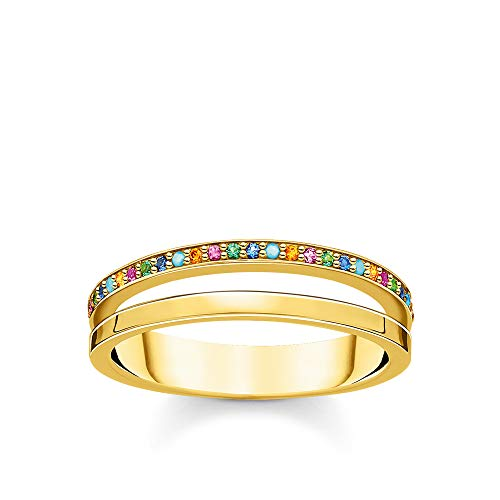 Thomas Sabo Women Ring Double Colored Stones Gold 925 Sterling Silver, 18K Yellow Gold Plating TR2316-488-7