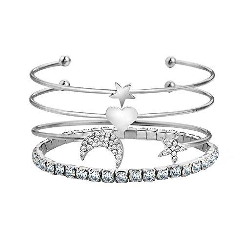 Janly Clearance Sale Pulseras para mujer, con forma de corazón de cinco puntas, estrella, luna, cuatro brazaletes, joyas y relojes para Navidad, día de San Valentín (plata)
