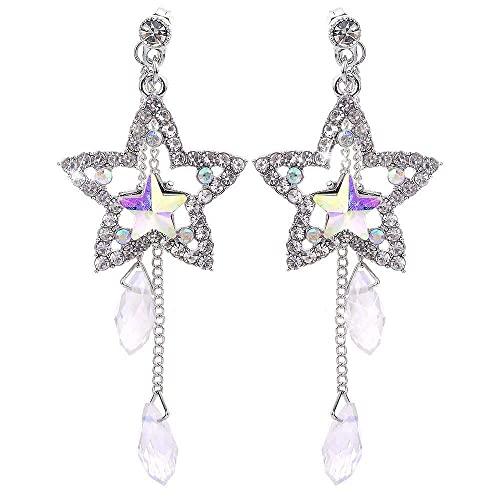 Chtom Personalidad de Las Mujeres Rhinestone Crystal Pentagram Pendientes Pendientes, creativos y útiles
