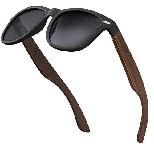 Balinco® Bambus Sonnenbrillen Set für Damen & Herren - mit polarisierten TAC-Linsen für ein intensives Sehvermögen - nachhaltig & langlebig - inkl. einer praktischen Geschenkbox (Smoke (Dunkle Bügel))