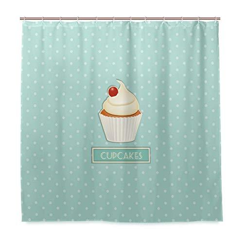 BKEOY Duschvorhang Cupcakes Polka Dot Badevorhang Schimmelresistent Wasserdicht Waschbar Polyester Stoff für Badezimmer Dekoration Vorhang 182,9 x 182,9 cm mit 12 Vorhanghaken