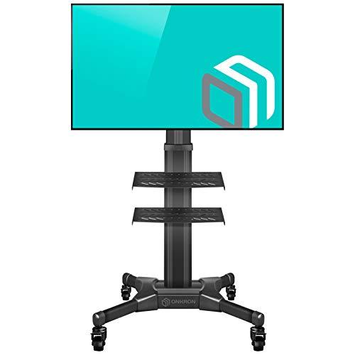 """ONKRON Mobil TV Ständer Universal für 32""""-55"""" Zoll LED OLED LCD Bildschirme Höhenverstellbar Rollbar TV-Standfuss mit AV-Ablagen VESA 100x100 bis 600x400 mm TS2551 Schwarz"""