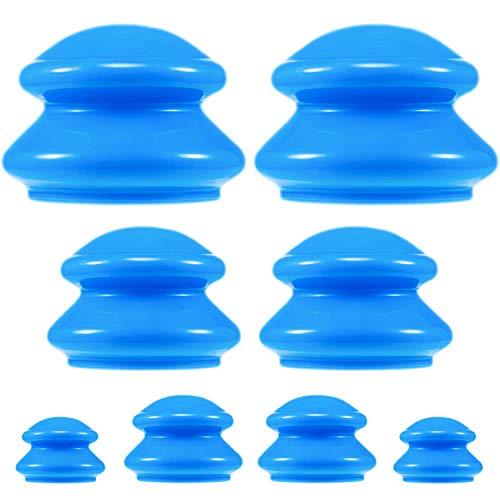 8 Stück Silikon Schröpfen Set 4 Größe Silikon Massage Cup Vakuum Saugglocken Cup Haus Verwenden Schröpfen Set für Anti Cellulite, Myofaszial Massage, Muskeln, Nerven, Gelenkschmerzen Linderung