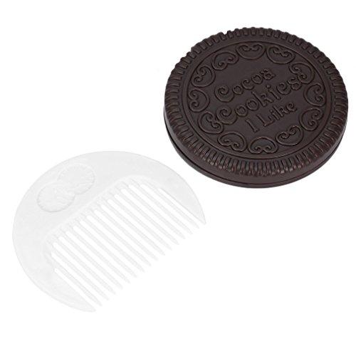 Jolie Fille Chocolat Biscuit Forme Conception Miroir Cosmétique Maquillage Chocolat Peigne Café