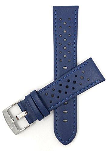 Bandini Extra Lang (XL) 20mm Blau Herren Leder Uhrenarmband, Perforiert