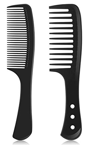 Kamm mit Griff,Barbier Haarstyling Salon Zahnkamm Hitzebeständiger Antistatischer Grobzinkiger,Feiner Kamm/Breiter Kamm,Hochwertige Carbon Locken Kamm für Männer und...