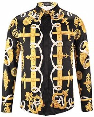 MAYUAN520 Chemises Medusa Impression pour Hommes Chemises Homme mode Design,marron,XL