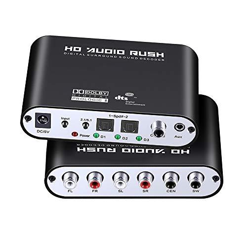 WJES Convertidor de Audio óptico Digital Coaxial a Analógico 5.1 Canales DTS Dolby AC-3 Decodificador de Audio TV a Audio