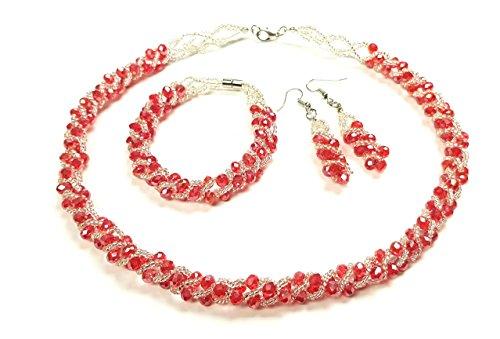TreasureBay Collar de cristal para mujer, niña, pulsera y pendientes (rojo)