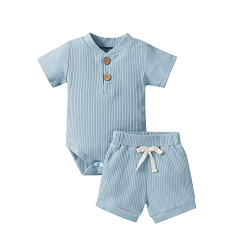 Summer Newborn Baby Boy Girl Clothes Set Ribbed Outfits Unisex Infant Solid Cotton Button Short Sleeve Tops Shorts 2PCS