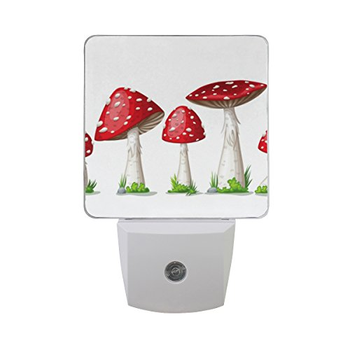 Naanle Set of 2 Toadstool Red Fly Agaric Mushroom with Green Grass On White Auto Sensor LED Dusk to Dawn Night Light Plug in Indoor for Adults