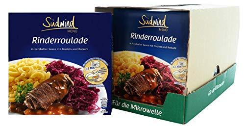 Herzhafte Rinderroulade mit Nudeln und Rotkohl – 7er Pack (7 x 480g) - Fertiggerichte für die Mikrowelle / Wasserbad - Südwind Lebensmittel