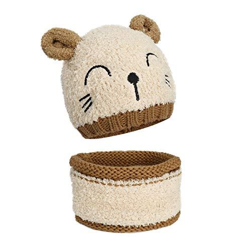 MengH-SHOP Baby Mütze und Schal Set Kinder Wintermütze Kleinkind Winter Warme Strickmütze mit Kreis Schleife Schal Beanie Schlupfmütze für 1-3 Jahre Jungen Mädchen (Beige)