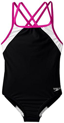 Speedo Big Girls, Black/Pink, 7