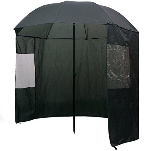 Festnight Angelschirm Anglerschirm Schirmzelt Compact Angelbedarf Schirm mit 2 PVC-Fenstern 240 x 210 cm Dunkelgrün