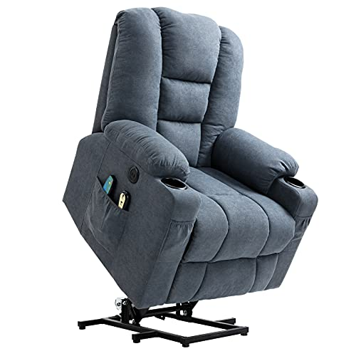 MEETWARM Power Lift Chair Electric Recliner for Elderly Heated Vibration Massage Soft Fabric Recliner Chair with 2 Remote Controls, USB Ports, Cup Holders & Side Pockets for Living Room (Gray-Blue)