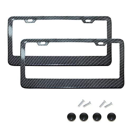2 Packs 3K Carbon Fiber License Plaat Frame Tag Cover met Schroefdoppen US Standaard Maat TWILL JDM/FF F F