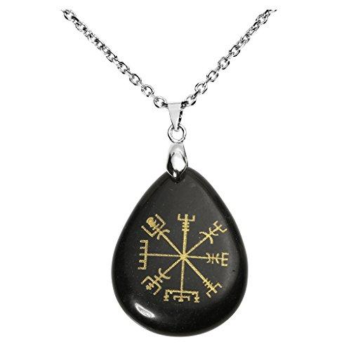JSDDE Viking Symbol Rune Vegvisir Compass Talisman Chakra Healing Crystal Teardrop Tumbled Stone Pendant Necklace 24' L - Obsidian