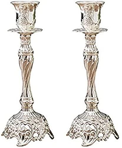 RENYC Candeleros Titular de la Vela for la Mesa 2pcs Vintage Soporte de Velas Soporte Candlestick Metal Vela Titulares Candelabros (Color : High Silver)