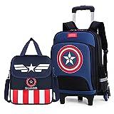 MYYLY Kid Capitán América Trolley Maletas Mochila Niños Superhéroe Escolar De 6 Ruedas Viaje para Niños Al Aire...