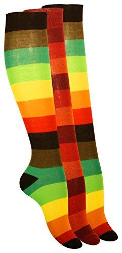 VCA 3 Paar Damen Kniestrümpfe mit breiten Blockstreifen, Baumwolle (39/42, grelle leuchtfarben)