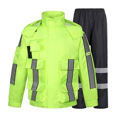CWfeng Fluorescente Green DE Seguridad DE Seguridad Reflexiva Impermeable Pantalones de Lluvia Traje Hombres Y Mujeres Dividir Impermeable Impermeable Motocicleta Motocicleta (Size : Medium)