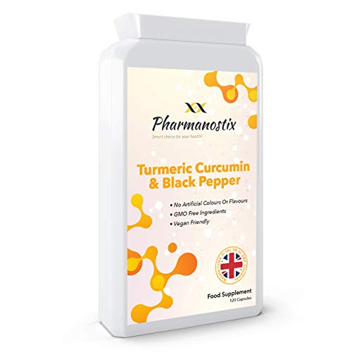 Turmeric Curcumin 500 mg Plus Black Pepper - High Potency - 120 Veg Capsules - UK Manufactured, Non-GMO & Gluten Free - Suitable for Vegetarians and Vegans