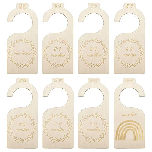 Samhe Baby Closet Dividers, Clothes Wooden Dividers Organizers Set of 7 Pcs from Newborn to 24 Month for Home Nursery